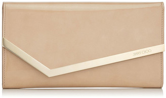 Jimmy Choo EMMIE Nude Patent and Suede Clutch Bag