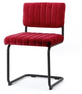 Tufted Velvet Side Chair in Red By Boo Upholstery Color: Red