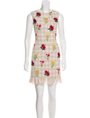 Oscar de la Renta Embroidered Tweed Dress Tan