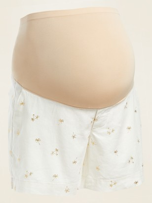 Old Navy Maternity Full-Panel Foil-Print Linen-Blend Shorts -- 5-inch inseam