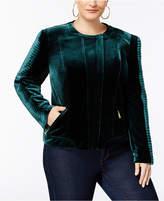 INC International Concepts Plus Size Velvet Biker Jacket, Created for Macy's