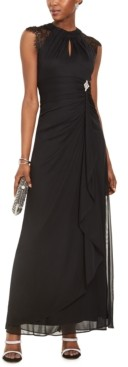 Betsy & Adam Lace-Sleeve Drape-Front Gown