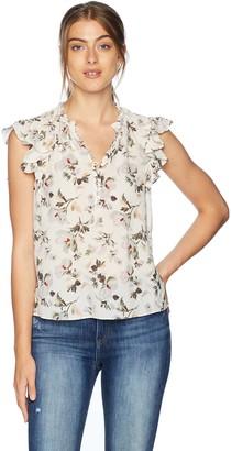 Rebecca Taylor Women's Sleeveless Ruffle Sleeve Silk top