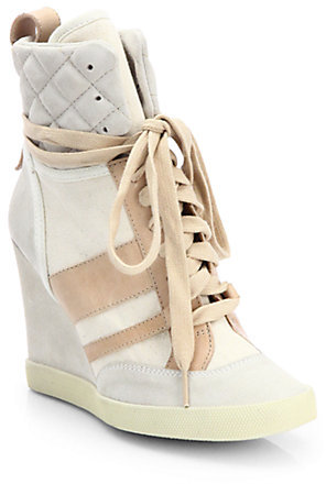Chloé Mixed Media Wedge Sneakers