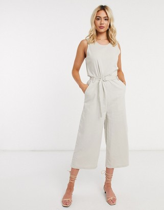 Only culotte jumpsuit with belted waist in stone