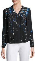 Elie Tahari Amina Long-Sleeve Tie-Neck Floral-Print Blouse, Multi