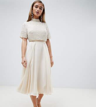 Asos DESIGN Petite midi dress with high neck crop top in delicate embellishment