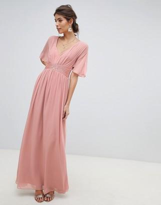 Little Mistress embellished waist and angel sleeve v neck maxi dress