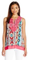 Notations Women's Petite Sleeveless Split Neck Printed Top with Neck Crochet Trim