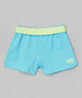 Soffe Turquoise & Sunwash Green Camp Shorts - Girls
