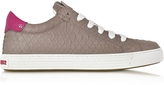 DSQUARED2 Tennis Club Grey and Fuchsia Embossed Leather Sneaker