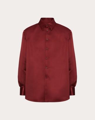 Valentino Duchesse Shirt Man Maroon Polyester 100% 37