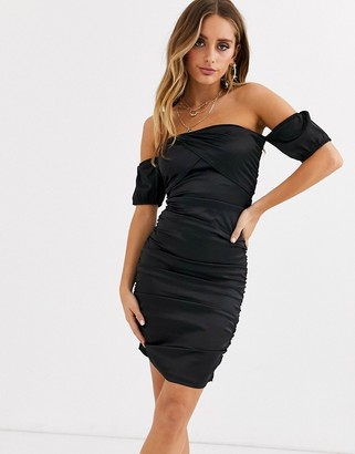 Parisian off shoulder dress with ruching in satin