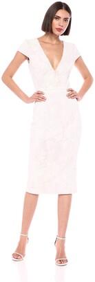 Dress the Population Women's Allison Sequin Midi Cap Sleeve Sheath Dress