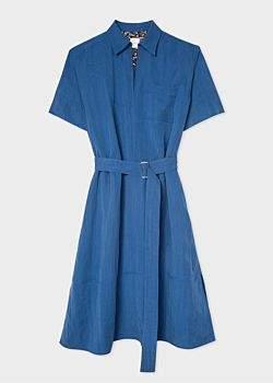 Women's Blue Chambray Midi Dress With Waist Belt