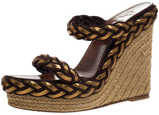 Christian Louboutin Gold/Brown Leather and Suede Braided Espadrille Wedge Sandals Size 40