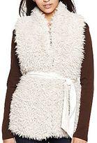 Coffee Shop CoffeeShop Faux Fur Vest with Belt
