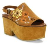 See by Chloe Dakota Embroidered Suede Platform Clogs