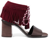See by Chloe Fringed Suede And Leather Sandals - Burgundy