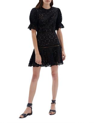 Jonathan Simkhai Puff-Sleeve Corded Lace Mini Dress