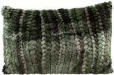 Mina Victory Fur Green Stripe Oblong Throw Pillow