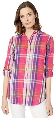 Lauren Ralph Lauren Plaid Cotton Twill Shirt (Pink/Multi) Women's Clothing