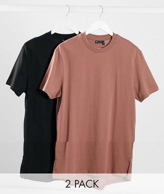 ASOS DESIGN 2 pack longline t-shirt with side splits