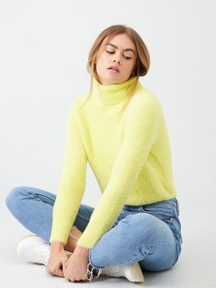 River Island Fluffy Cropped High Neck Jumper- Yellow