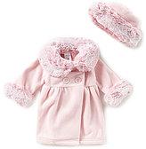 Starting Out Baby Girls 3-24 Months Faux-Fur Trim Coat & Matching Hat Set