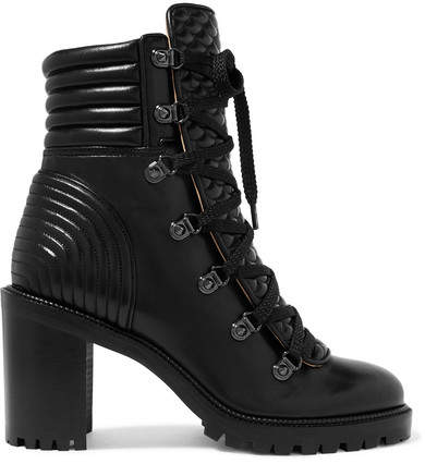 Christian Louboutin Mad 70 Spiked Quilted Leather Ankle Boots - Black