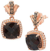 LeVian Bamboo Smoky Quartz, White Diamond, Chocolate Diamond 14K Rose Gold Earrings