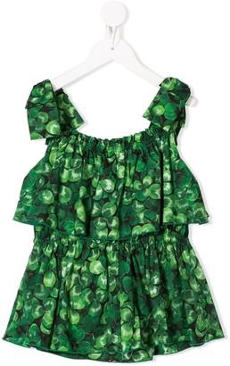 Dolce & Gabbana Kids Clover Print Tiered Top