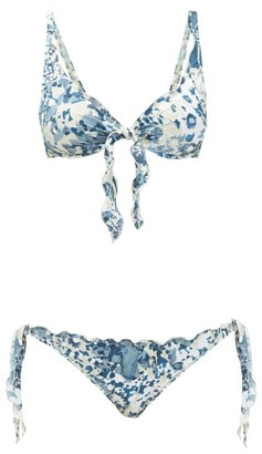 Marios Schwab Los Roques Floral-print Underwired Bikini - Blue Print