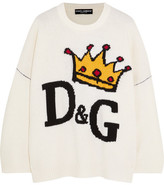 Dolce & Gabbana Oversized Intarsia Wool Sweater - White