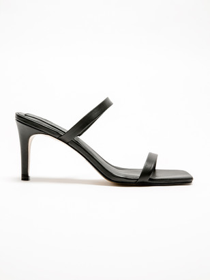 Jaggar Womens Two-Strap Heels in Black Leather