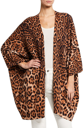 Neiman Marcus Leopard Print Cashmere Kimono Cardigan