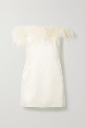 Saint Laurent Feather-trimmed Satin-crepe Mini Dress - Ivory