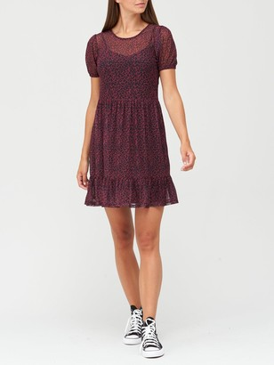 Very Tiered Mesh Dress - Black/Floral