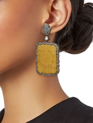 Artisan Two-Tone, Agate & Diamond Drop Earrings