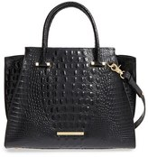 Brahmin 'Priscilla' Croc Embossed Leather Satchel - Black