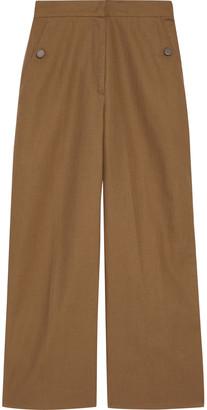 Max Mara Ruta Cropped Cotton And Linen-blend Wide-leg Pants