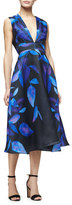 Lela Rose Sleeveless Leaf-Print Midi Dress, Lapis/Multi