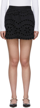 RED Valentino Black Gabardine Embroidered Shorts