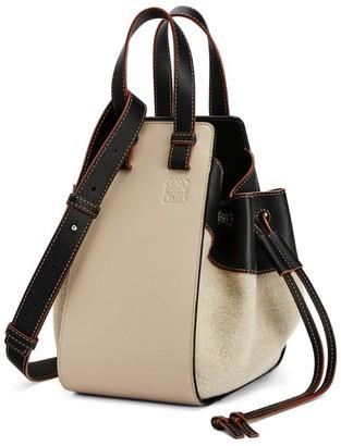 Loewe Small Leather And Linen Hammock Bag