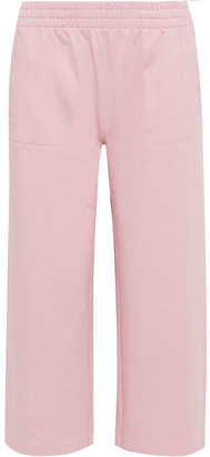 Norma Kamali Cropped French Cotton-blend Terry Track Pants