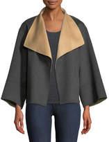 Neiman Marcus Cashmere Collection Reversible Luxury Double-Face Cashmere Jacket
