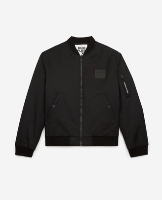 The Kooples Zipped black cotton jacket with breast patch