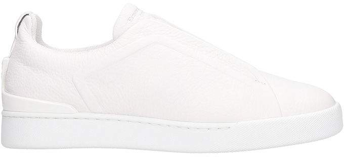 Ermenegildo Zegna Slip On Triple Stick White Leather Sneakers