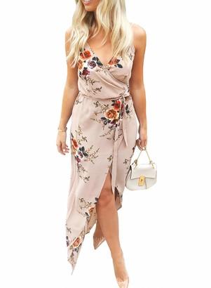 FOBEXISS Womens Fashion Summer Sexy Wrap V Neck Dress Leopard Print Maxi Dress Sleeveless Cami Vintage Floral Cocktail Dress Blue