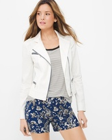 White House Black Market Contrast Asymmetrical Zip Front Jacket
